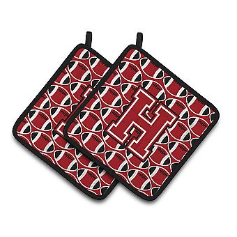 Letter H Football Red, Black and White Pair of Pot Holders