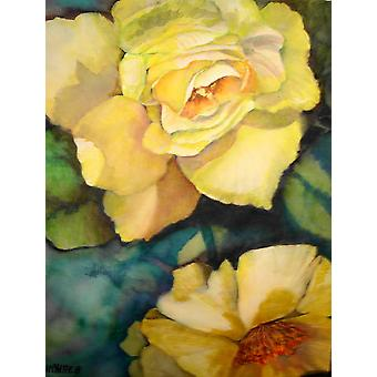 Carolines Treasures  PJC1047CHF Yellow Roses Flag Canvas House Size