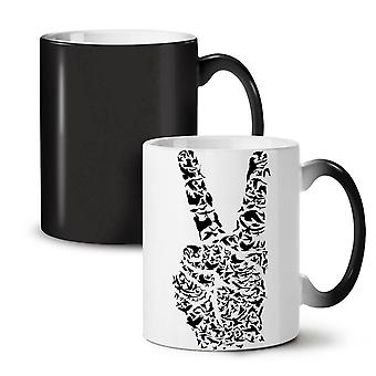 Peace Sign Hand Animal NEW Black Colour Changing Tea Coffee Ceramic Mug 11 oz | Wellcoda