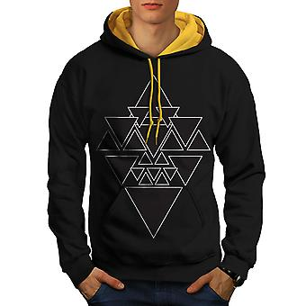 Occult Triangle Men Black (Gold Hood)Contrast Hoodie | Wellcoda