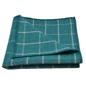 Cyan Birdseye Check Pocket Square, Handkerchief