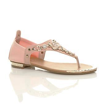 Ajvani womens plat stuk goud trim roze bloem diamante teen post t-bar sandalen