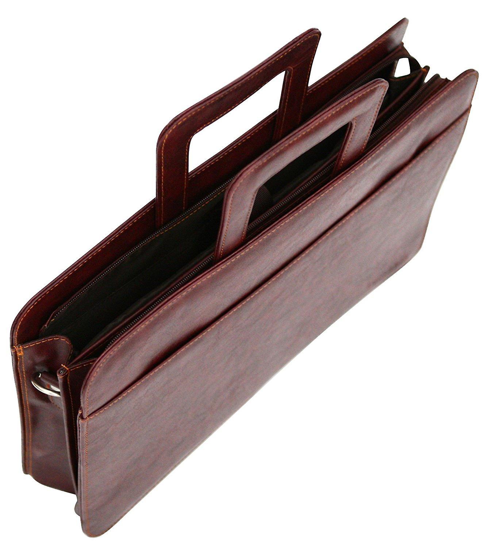 Pu Leather Look Laptop File Conference Folder Twin Handle Portfolio Retractable Handles (Brown)