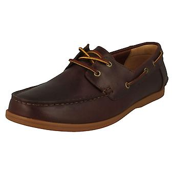 Mens Clarks зашнуровать лодка обуви Морвен парус