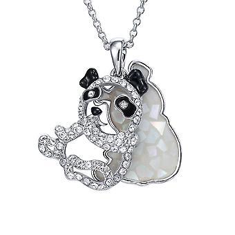 Panda abalone vedhæng pyntet med krystal af White Swarovski
