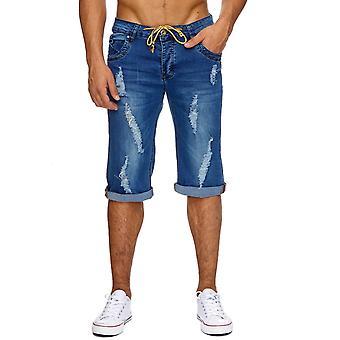 Mænds Jeans Shorts korte bukser Stonewashed tårer rippet flossede Neon skåret ud