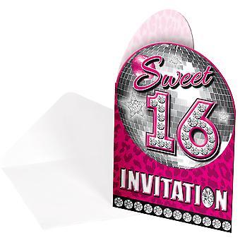 Uitnodiging uitnodigingen uitnodiging kaart Sweet 16 roze Teenieparty verjaardag 8 stuks