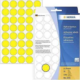 Herma 2251 Sticky dots Ø 19 mm Yellow 1280 pc(s) Permanent adhesive Paper