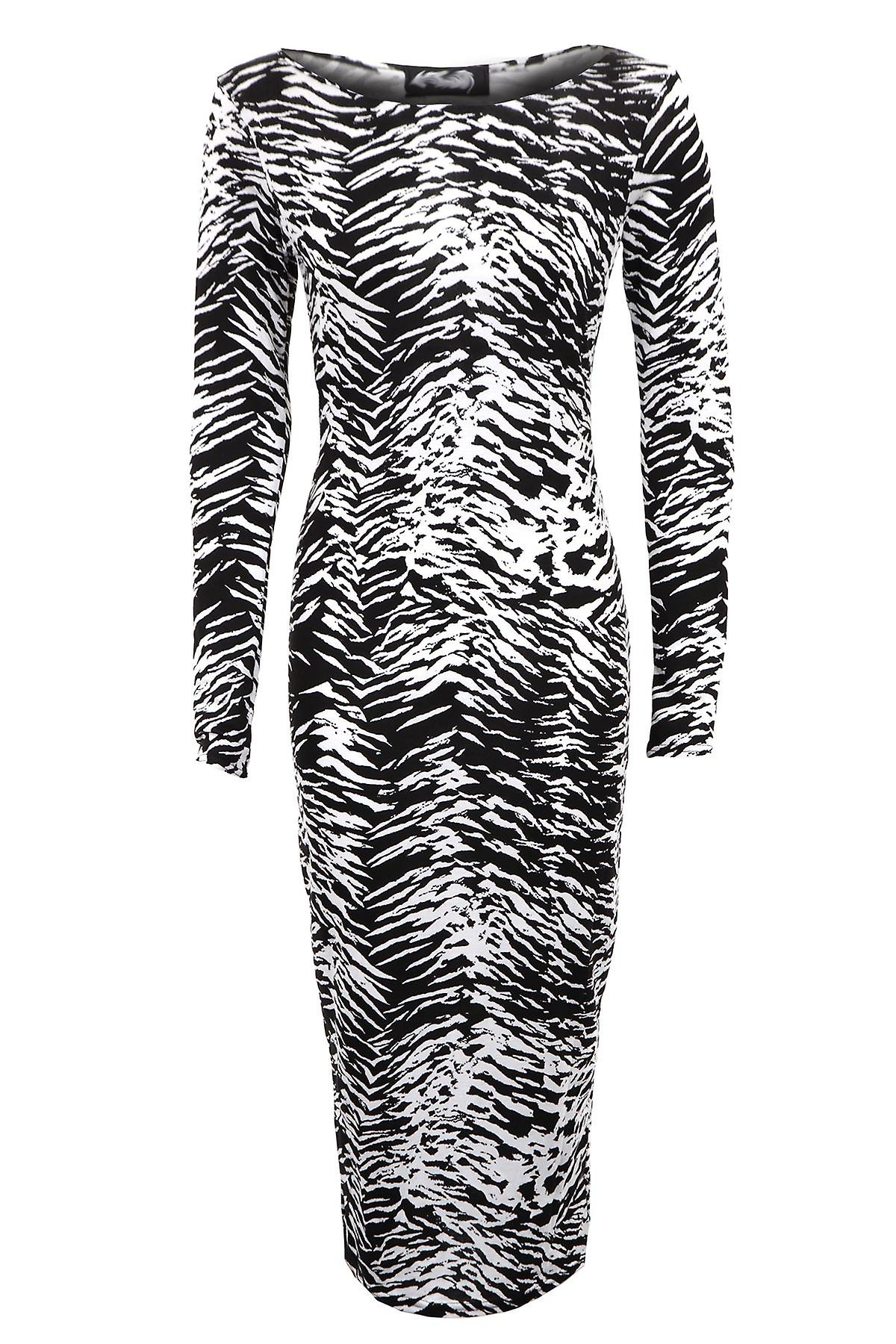 New Ladies Celeb Tribal Zebra Print Full Length Bodycon Women's Dress