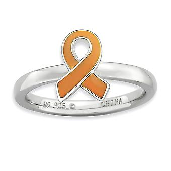 925 Sterling Silver Polished Stackable Expressions Orange Enameled Awareness Ribbon Ring Jewelry Gifts for Women - Ring