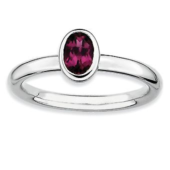 925 Sterling Silver Bezel Polished Rhodium plated Stackable Expressions Oval Rhodolite Garnet Ring Jewelry Gifts for Wom