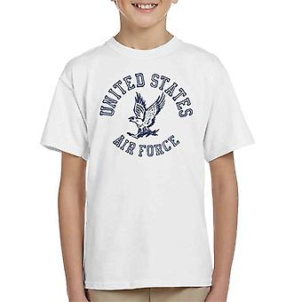 US Airforce Eagle Navy Blue Text Kid's T-Shirt