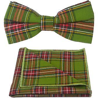 Cravatte a farfalla in verde tradizionale & fazzoletto da taschino impostata, Check, Plaid