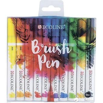 Talens Ecoline Dye-Based Watercolour Brush Pen Set of 10