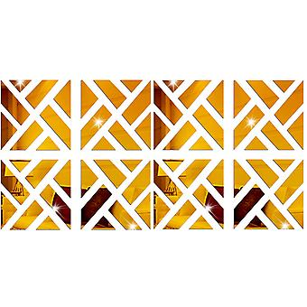 TRIXES 8PC 3D Geometric Mirrored Pattern - Colour Gold - Wall Art Decoration