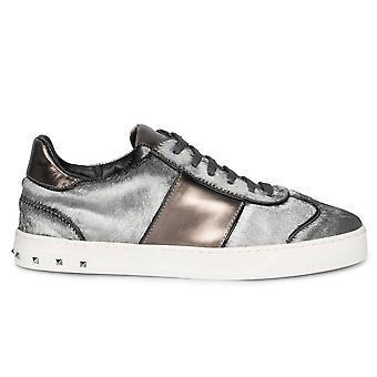 Valentino Flycrew Calfhair Sneaker in Gray
