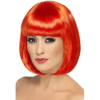 Short Red Bob Wig, Partyrama Wig, 12 inch, With Fringe, Fancy Dress
