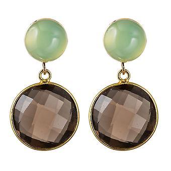Boucles d'oreilles Gemshine pour femmes en quartz fumé et pierres précieuses chalcédony 925 plaqué argent