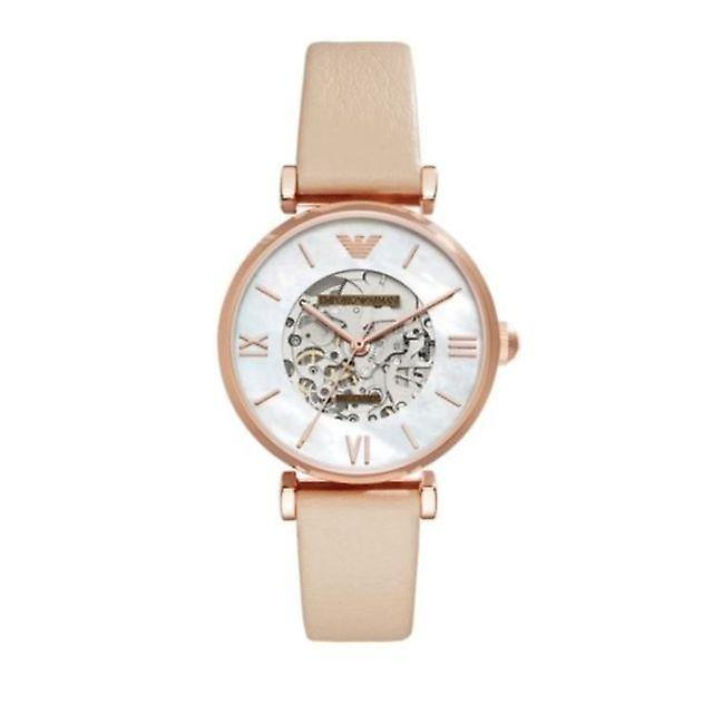 Emporio armani women's white dial leather band watch ar60001