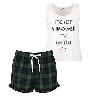 Non si tratta di una sbornia è Gin influenza pigiama Ladies Tartan Frill pigiama corto Set rosso blu o verde blu