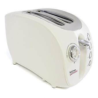 Lloytron Ivory White Kitchen Perfected 2 Slice Wide Slot Toaster with Bagel