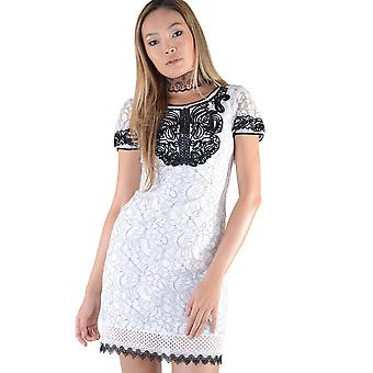 LMS Black Piping Detail And Crochet Hem White Lace Dress
