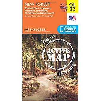OS Explorer ACTIVE OL22 nowego lasu, Southampton, Ringwood, Ferndown, Lymington, Christchurch i Bournemouth (...)