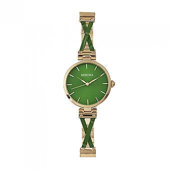 Bertha Amanda Criss-Cross Bracelet Watch - Gold/Green