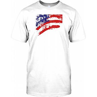 USA Stars And Stripes Grunge Flag effetto Mens T-Shirt