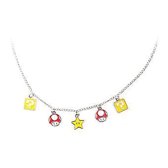 Super Mario Bros Mushroom Block & Super Star Necklace Multi-colour (JE101302NTN)