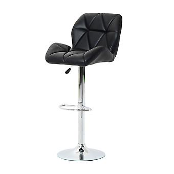 HOMCOM Diamond Design Swivel Leather Bar Stool Breakfast Barstool Kitchen Pub Dining Chair Gas Lift PU Chair Metal Chrome Base Adjustable Height (Black)