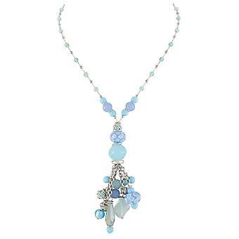 Eternal Collection Valentina sininen Murano Glass Charm Y tyyli riipus kaula koru