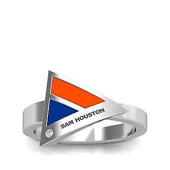 Sam Houston State University graviert Sterling Silber Diamant geometrische Ring in Orange und blau