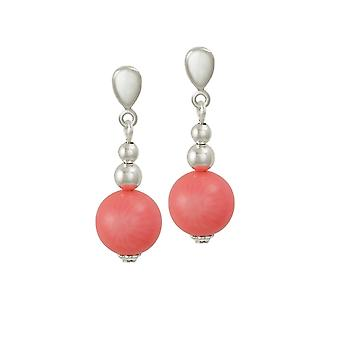 Eternal Collection Essentia Coral Silver Tone Drop Clip On Earrings