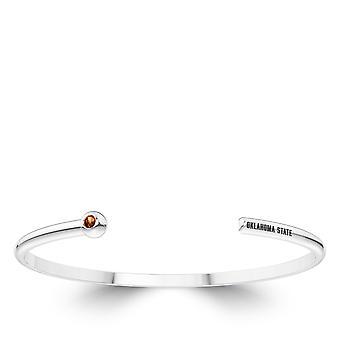 Oklahoma State University graviert Sterling Silber Citrin Manschette Armband