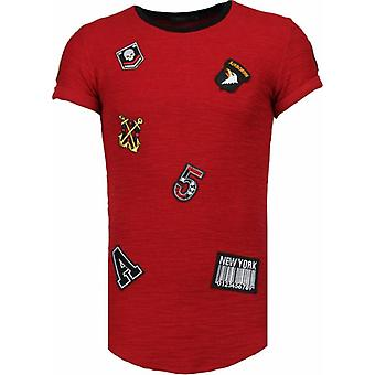 Military Patches - T-Shirt - Bordeaux