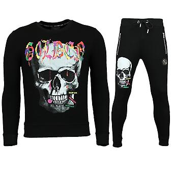 Heren Trainingspakken - Slim fit Joggingpak Mannen- Color Skull - Zwart