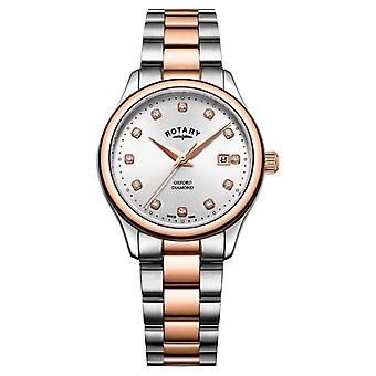 Rotary   Women's Oxford   Two-Tone Stainless Steel   Silver Sunray LB05094/70/D Watch