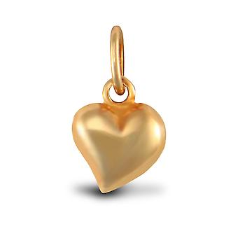 Jewelco London Ladies 9ct Yellow Gold Love Heart Charm Pendant