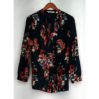 Isaac Mizrahi Live! Top Fall Floral Printed Pleated Button Down Green A281347