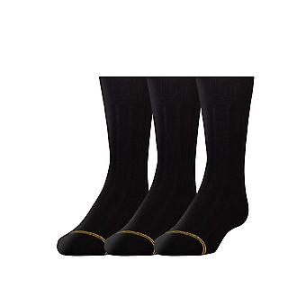 Gold Toe Boys' Wide Rib Dress Crew Socks, 3-Pair, Black, Small