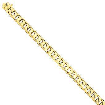 14k Gelb Gold 9,8 mm flach abgeschrägte Bordstein handpoliert Kette Armband - Länge: 8 bis 9