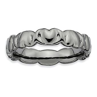 925 Sterling Silber poliert gemustert Ruthenium Plating stapelbare Ausdrücke schwarz plattiert Liebesherzen Ring Schmuck Gif