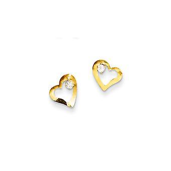 14k צהוב מלוטש זהב אהבה לב עם CZ מעוקב מדומה יהלום לפוסט עגילים תכשיטים מתנות לנשים