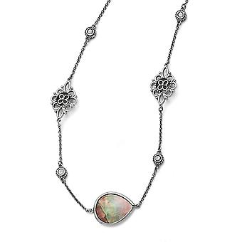 Stainless Steel Polished Black Mother of Pearl Cubic Zirconia With 3inch Ext. Necklace - 24.5 Inch