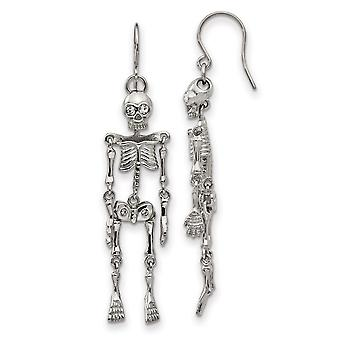 Stainless Steel Polished With Crystal Shepherd Hook Skeleton Earrings Jewelry Gifts for Women