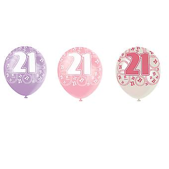 SALE - 6 Pink Glitz Pearlized Milestone Age Balloons - Happy 21st Birthday