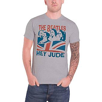 The Beatles T Shirt Windswept Hey Jude Band Logo new Official Mens Grey
