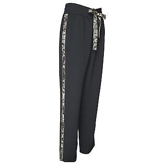 Frank Lyman Black Crushed Velvet Effect  Trousers