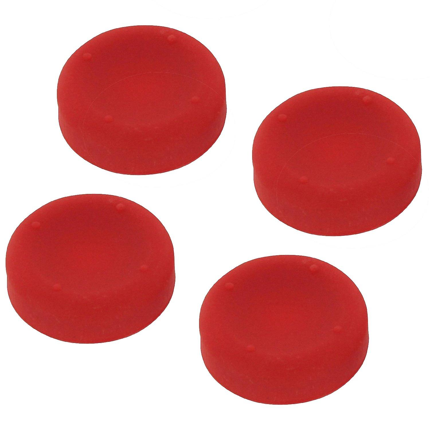 Concave soft silicone thumb grips for sony ps4 controller analog sticks - 4 pack red